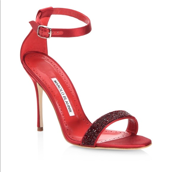 d5d1287e8f7 MANOLO BLAHNIK Red Satin heel perfect for holiday
